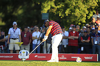 Patrick Reed (Team USA) on the 16th tee during Saturday afternoon Fourball at the Ryder Cup, Hazeltine National Golf Club, Chaska, Minnesota, USA.  01/10/2016<br /> Picture: Golffile | Fran Caffrey<br /> <br /> <br /> All photo usage must carry mandatory copyright credit (&copy; Golffile | Fran Caffrey)