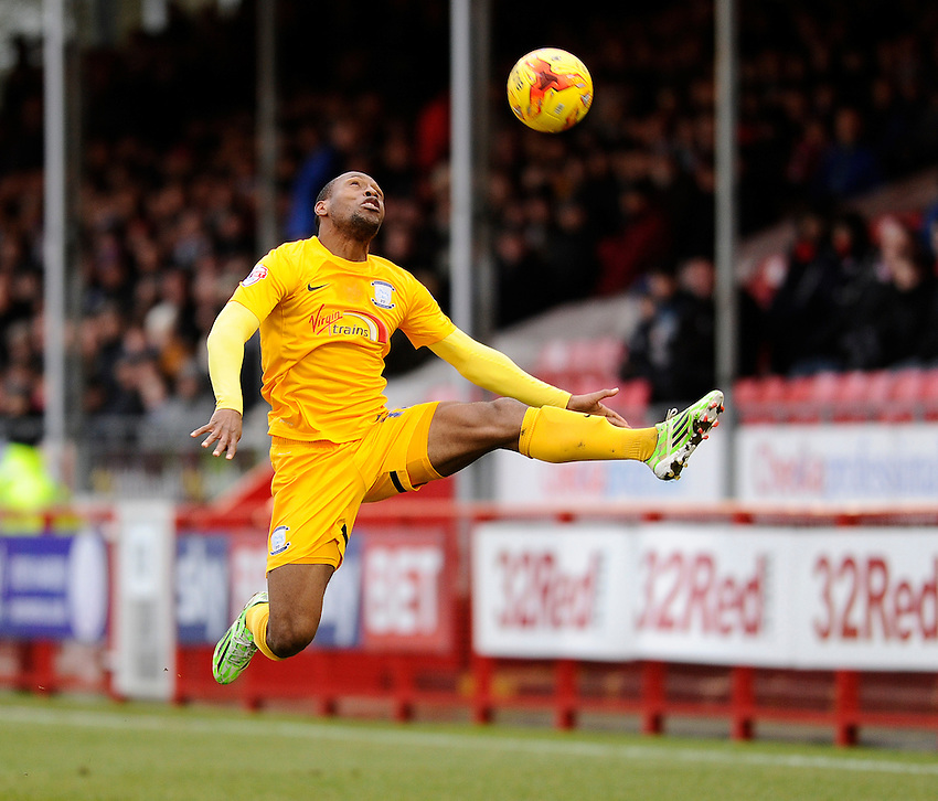 Preston North End's Kyel Reid in action during todays match  <br /> <br /> Photographer Ashley Western/CameraSport<br /> <br /> Football - The Football League Sky Bet League One - Crawley Town v Preston North End - Saturday 31st January 2015 - Broadfield Stadium - Crawley<br /> <br /> &copy; CameraSport - 43 Linden Ave. Countesthorpe. Leicester. England. LE8 5PG - Tel: +44 (0) 116 277 4147 - admin@camerasport.com - www.camerasport.com