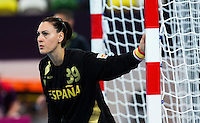 25 JUL 2012 - LONDON, GBR - Spain's goalkeeper Mihaela Ciobanu (ESP) watches play during the women's London 2012 Olympic Games warm up handball match against Spain at The Copper Box in the Olympic Park, in Stratford, London, Great Britain .(PHOTO (C) 2012 NIGEL FARROW)