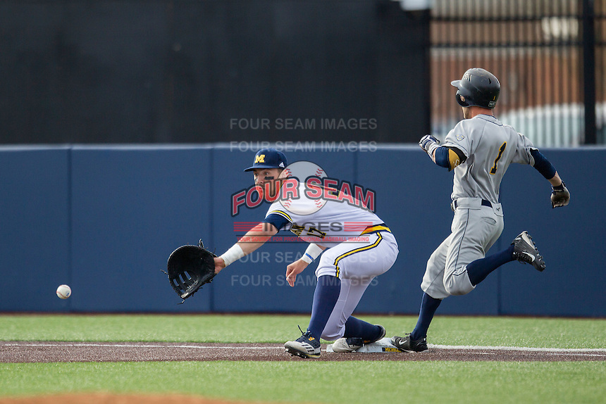Michigan Wolverines first baseman Drew Lugbauer (17) stretches for the ball against the Toledo Rockets on April 20, 2016 at Ray Fisher Stadium in Ann Arbor, Michigan. Michigan defeated Bowling Green 2-1. (Andrew Woolley/Four Seam Images)