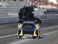 Feb 11, 2017; Pomona, CA, USA; NHRA funny car driver Bob Bode heads towards the wall after losing steering during qualifying for the Winternationals at Auto Club Raceway at Pomona. Mandatory Credit: Mark J. Rebilas-USA TODAY Sports