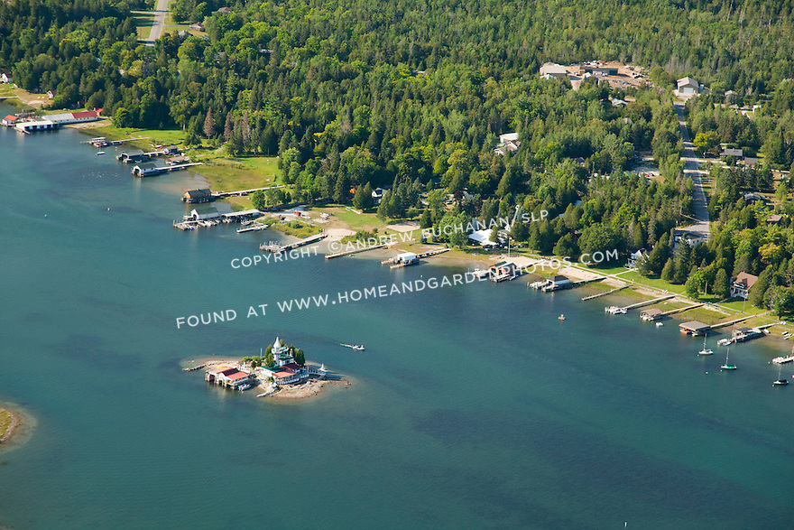Dollar Island and mainland side of Snows Channel area in Les Cheneaux Area of Lake Huron near Cedarville, MI