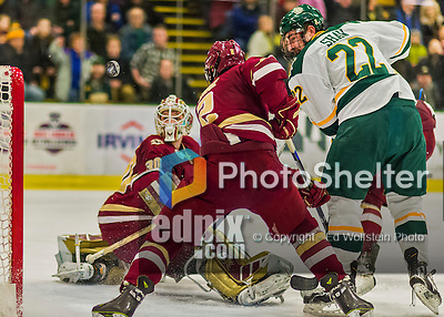20 February 2016: University of Vermont Catamount Forward Brady Shaw, a Junior from Ottawa, Ontario, watches the puck sail wide of the net during second period action against the Boston College Eagles at Gutterson Fieldhouse in Burlington, Vermont. The Eagles defeated the Catamounts 4-1 in the second game of their weekend series. Mandatory Credit: Ed Wolfstein Photo *** RAW (NEF) Image File Available ***