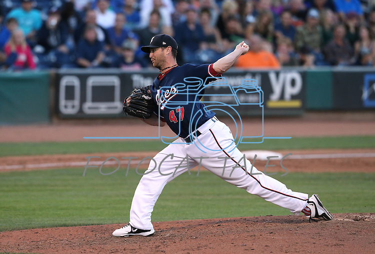 Reno Aces' Dan Runzler pitches against the Las Vegas 51s in Reno, Nev., on Sunday, July 26, 2015.<br /> Photo by Cathleen Allison