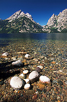 Grand Teton Mountain and Jenny Lake with rocky shoreline. Grand Teton National Park.