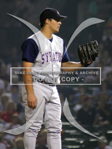 February 3, 2009:  Mike Smith of the Syracuse SkyChiefs, Class-AAA affiliate of the Toronto Blue Jays, during a International League game at Frontier Field in Rochester, NY.  Photo by:  Mike Janes/Four Seam Images