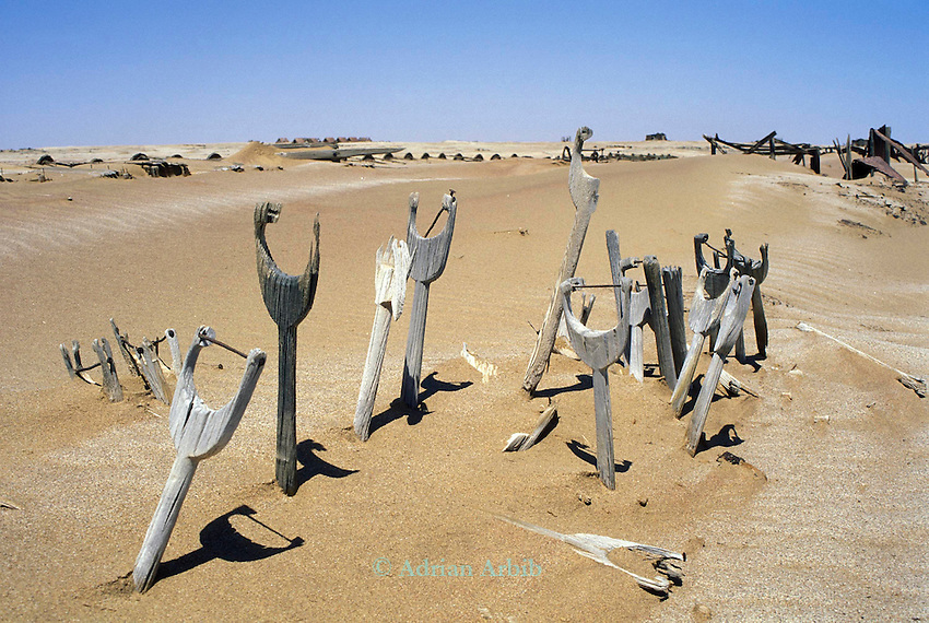 An abandoned mine workings in the diamond region of the Namib Desert.  Namibia. Southern restricted Diamond region.
