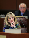 Nevada Assemblywoman Jill Dickman, R-Sparks, works in commitee at the Legislative Building in Carson City, Nev., on Tuesday, April 7, 2015. <br />