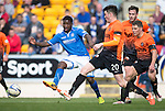 St Johnstone v Dundee United...19.04.14    SPFL<br /> Nigel Hasselbaink and John Souttar<br /> Picture by Graeme Hart.<br /> Copyright Perthshire Picture Agency<br /> Tel: 01738 623350  Mobile: 07990 594431