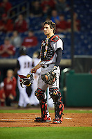 Maryland Terrapins catcher Justin Morris (10) during a game against the Louisville Cardinals on February 18, 2017 at Spectrum Field in Clearwater, Florida.  Louisville defeated Maryland 10-7.  (Mike Janes/Four Seam Images)