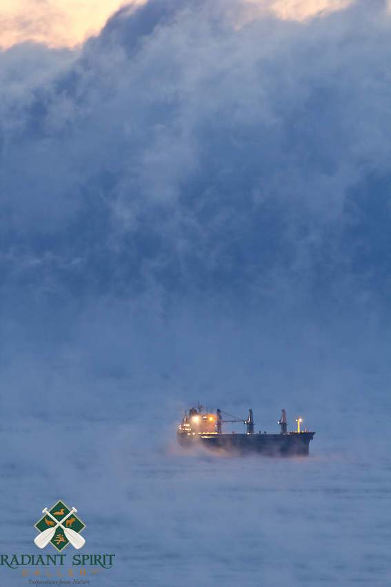 &quot;Ship among the Sea Smoke&quot;<br /> <br /> A boat is shrouded by the sea smoke on Lake Superior on a subzero morning near Duluth, Minnesota.