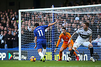 Pedro scores Chelsea's opening goal during Chelsea vs Fulham, Premier League Football at Stamford Bridge on 2nd December 2018