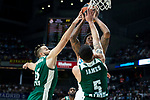 Real Madrid Trey Thompkins and Panathinaikos Ian Vougioukas and Mike James during Turkish Airlines Euroleague Quarter Finals 3rd match between Real Madrid and Panathinaikos at Wizink Center in Madrid, Spain. April 25, 2018. (ALTERPHOTOS/Borja B.Hojas)