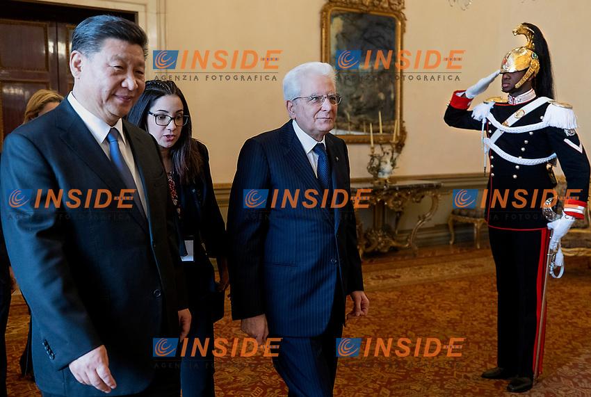 Xi Jinping and Sergio Mattarella<br /> Rome March 22nd 2019. The President of the ChineseDemocratic Republic visits the President of the Italian Republic at Quirinale.<br /> photo di Paolo Giandotti/Presidenza della Repubblica/Inside