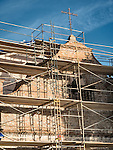 Cross and scaffolding, Historic Mission San Antonio de Padua, 3rd of the Father Serra Mission, 1771, Monterey County, Calif.<br /> <br /> Scaffolding on the chapel during earthquake retrofit construction