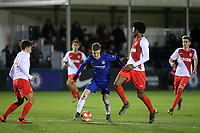 Charlie Brown of Chelsea weaves his way through the AS Monaco defence during Chelsea Under-19 vs AS Monaco Under-19, UEFA Youth League Football at the Cobham Training Ground on 19th February 2019
