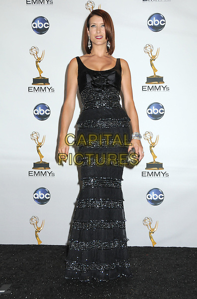 KATE WALSH.60th Annual Primetime Emmy Awards held at the Nokia Theatre, Los Angeles, California, USA..September 21st, 2008.pressroom press room full length black dress long maxi beaded crystals.CAP/ADM/BP.©Byron Purvis/AdMedia/Capital Pictures.