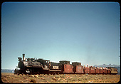 RGS #74 with RMRRC excursion near Valley View, two miles east of Peak.  Consist is cabooses #0400 and #0401, three gondolas and business car B-20 &quot;Edna&quot;.<br /> RGS  Valley View, CO  Taken by Kindig, Richard H. - 9/1/1951