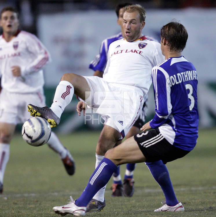 8 October 2005: Clint Mathis of the Real Salt Lake tries to control the ball away from Kevin Goldthwaite of the Earthquakes during the first half of the game at Spartan Stadium in San Jose, California.   Earthquakes is leading Real Salt Lake, 2-0 at halftime.