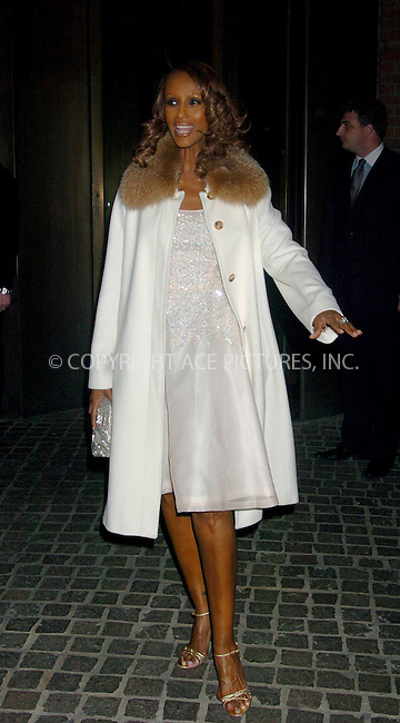 "WWW.ACEPIXS.COM . . . . .  ....NEW YORK, MARCH 9, 2006....Iman at the premiere of ""Ask The Dust"".....Please byline: AJ Sokalner - ACEPIXS.COM.... *** ***..Ace Pictures, Inc:  ..Philip Vaughan (212) 243-8787 or (646) 769 0430..e-mail: info@acepixs.com..web: http://www.acepixs.com"
