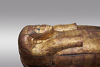 Acient Egyptian sacophagus of Merit -  inner coffin from tomb of Kha, Theban Tomb 8 , mid-18th dynasty (1550 to 1292 BC), Turin Egyptian Museum.  Grey background
