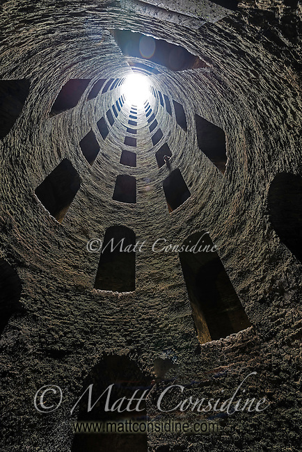 Looking up form the bottom of the well at Orvieto. The well has two spiral staircase big enough for pack animals to haul water to the surface. The water at the bottom of the well is crystal clear. (Photo by Travel Photographer Matt Considine)