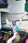 November 3, 2018: Frankie Dettori celebrates atop Expert Eye #7 after winning the Breeders' Cup Mile on Breeders' Cup World Championship Saturday at Churchill Downs on November 3, 2018 in Louisville, Kentucky. Michael McInally/Eclipse Sportswire/CSM