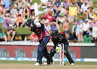 England's Joe Root is bowled by New Zealand's Colin Munro. New Zealand Blackcaps v England. One Day International Cricket. Seddon Park, Hamilton, New Zealand on Sunday 25 February 2018.<br /> <br /> Copyright photo: &copy; Bruce Lim / www.photosport.nz