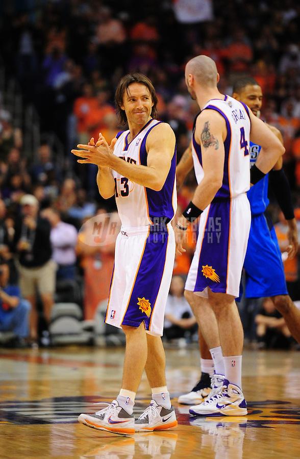 Mar. 27, 2011; Phoenix, AZ, USA; Phoenix Suns guard (13) Steve Nash against the Dallas Mavericks at the US Airways Center. The Maverick defeated the Suns 91-83. Mandatory Credit: Mark J. Rebilas-