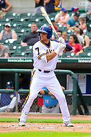 Iowa Cubs outfielder Jacob Hannemann (7) at bat during a Pacific Coast League game against the Colorado Springs Sky Sox on June 23, 2018 at Principal Park in Des Moines, Iowa. Colorado Springs defeated Iowa 4-2. (Brad Krause/Four Seam Images)