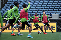 SEATTLE, WA - NOVEMBER 9: Nouhou #5 of the Seattle Sounders FC looks for an open teammate at CenturyLink Field on November 9, 2019 in Seattle, Washington.