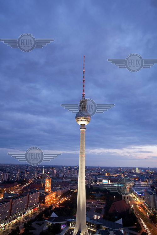 The Fernsehturm (televison tower and revolving restaurant) in Alexander Platz, the centre of former East Berlin. The tower became the iconic symbol of East Germany and Communist era technology when it was completed in 1969...