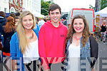 Jackie Clifford (Waterville), Daragh Donoghue (Valentia) and Caoimhe O'Sullivan (Waterville) pictured queuing for the Union J concert at Denny Street on Friday.