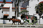 COUPLE RIDE in HORSE & CARRAIGE past RIVIERA COMPLEX