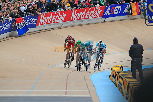 The chasing pack led by Sbastien Turgot (FRA) Team Europcar with Alessandro Ballan (ITA) BMC Racing, Juan Antonio Flecha Giannoni (ESP) Sky Procycling and Niki Terpstra (NED) Omega Pharma-Quickstep1.39 behind sprint for the line in the Roubaix Velodrome at the end of the 110th edition of the Paris-Roubaix spring classic cycle race. 8th April 2012 (Photo by Eoin Clarke 2012)