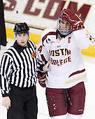 Matt Riegert, Tommy Cross (BC - 4) - The Boston College Eagles defeated the University of Massachusetts-Amherst Minutemen 3-2 to take their Hockey East Quarterfinal matchup in two games on Saturday, March 10, 2012, at Kelley Rink in Conte Forum in Chestnut Hill, Massachusetts.