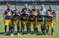 CARSON, CA - August 25, 2013: The starting lineup for the New York Red Bulls for the Chivas USA vs New York Red Bulls match at the StubHub Center in Carson, California. Final score, Chivas USA 3, New York Red Bulls 2.