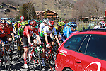 Race leader Thomas De Dendt (BEL) Lotto-Soudal centre at the start of Stage 4 of the Volta Ciclista a Catalunya 2019 running 150.3km from Llanars (Vall De Camprodon) to La Molina (Alp), Spain. 28th March 2019.<br /> Picture: Colin Flockton | Cyclefile<br /> <br /> <br /> All photos usage must carry mandatory copyright credit (© Cyclefile | Colin Flockton)