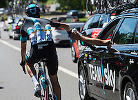 Picture by Alex Broadway/ASO/SWpix.com - 07/07/16 - Cycling - Tour de France 2016 - Stage Six - Arpajon-sur-C&egrave;re to Montauban - Mikel Landa of Spain and Team Sky collects water from the Sky Team Car.<br /> <br /> NOTE : FOR EDITORIAL USE ONLY. COMMERCIAL ENQUIRIES IN THE FIRST INSTANCE TO simon@swpix.com THIS IS A COPYRIGHT PICTURE OF ASO. A MANDATORY CREDIT IS REQUIRED WHEN USED WITH NO EXCEPTIONS to ASO/ALEX BROADWAY