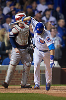 Chicago Cubs Ben Zobrist (18) slams his bat down after flying out in the sixth inning during Game 4 of the Major League Baseball World Series against the Cleveland Indians on October 29, 2016 at Wrigley Field in Chicago, Illinois.  (Mike Janes/Four Seam Images)