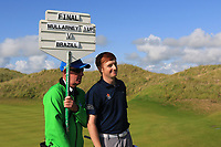 Ronan Mullarney (Galway) wins on the 18th green during the Final of the AIG Irish Amateur Close Championship 2019 in Ballybunion Golf Club, Ballybunion, Co. Kerry on Wednesday 7th August 2019.<br /> <br /> Picture:  Thos Caffrey / www.golffile.ie<br /> <br /> All photos usage must carry mandatory copyright credit (© Golffile | Thos Caffrey)
