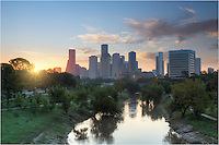 I took this image of Buffalo Bayou and the Houston skyline from a pedestrian walkway that spanned the waters of Buffalo Bayou and the roadway of Memorial Parkway. The sun was rising in the east on the peaceful weekend morning in the largest city in Texas. Despite over 2 million folks calling this place home, you can still find some peace along this protected greenbelt near downtown.