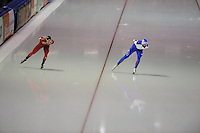 SCHAATSEN: HEERENVEEN: IJsstadion Thialf, 12-02-15, World Single Distances Speed Skating Championships, Sverre Lunde Pedersen (NOR), Aleksandr Rumyantsev (RUS), ©foto Martin de Jong