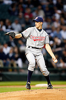 August 7, 2009:  Pitcher Jeremy Sowers (45) of the Cleveland Indians delivers a pitch during a game vs. the Chicago White Sox at U.S. Cellular Field in Chicago, IL.  The Indians defeated the White Sox 6-2.  Photo By Mike Janes/Four Seam Images