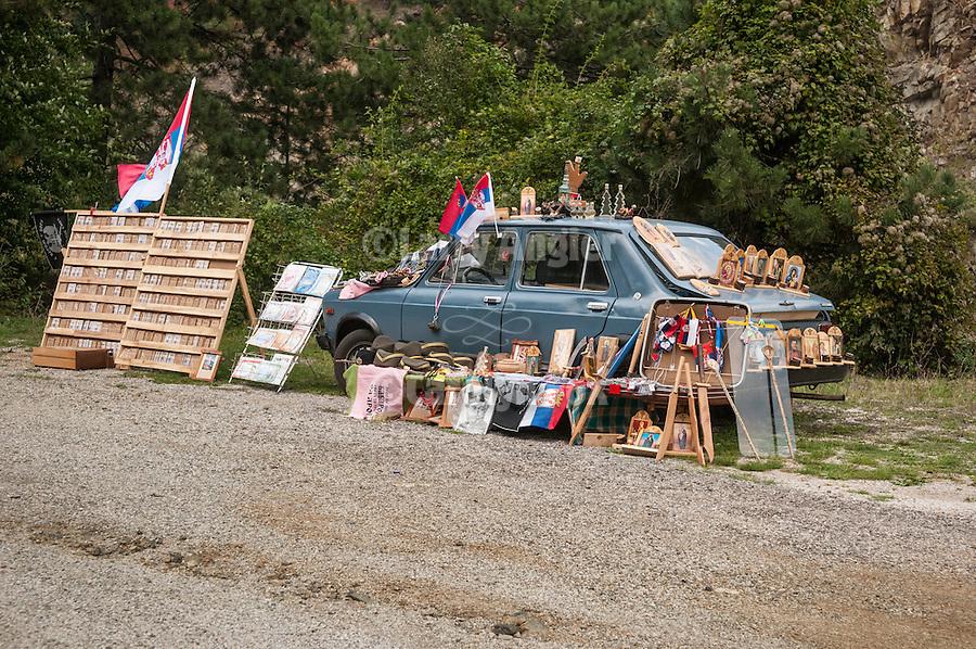 Road-side vendor with blue car along the highway near Mokra Gora, Serbia.