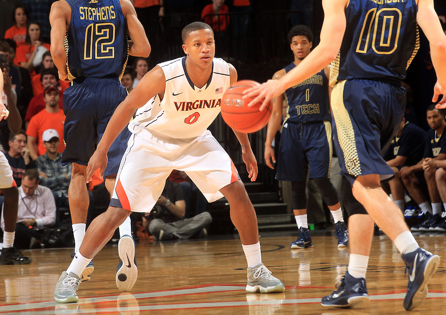 Virginia guard Devon Hall (0) during the game Jan. 22, 2015, in Charlottesville, Va. Virginia defeated Georgia Tech 57-28.