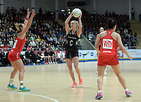 08.02.2017 New Zealand's Shannon Francois in action during the Wales v Silver Ferns netball test match at Swansea University at Ice Arena Wales. Mandatory Photo Credit ©Ian Cook/Michael Bradley Photography.