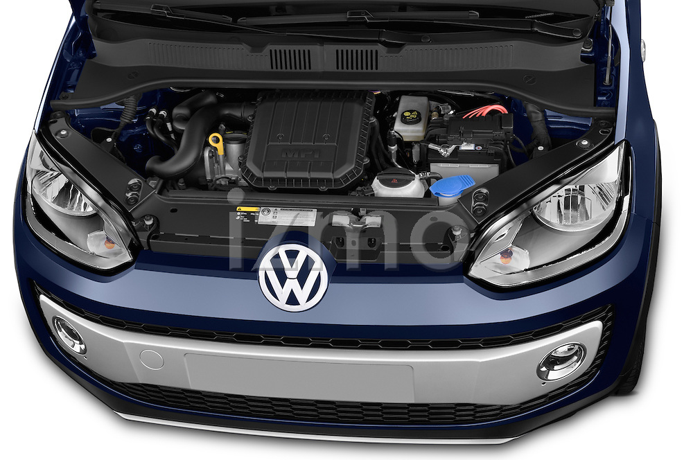 Car Stock2014 Volkswagen up! Cross up! 5 Door Hatchback 2WD Engine high angle detail view