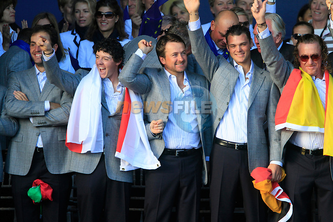 The winning European Team on stage at the closing ceremony of the 2010 Ryder Cup at the Twenty Ten Course, Celtic Manor Resort, Newport, Wales, 4th October 2010..(Picture Eoin Clarke/www.golffile.ie)