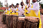 Drummers outside a Kagali church before Easter morning mass.